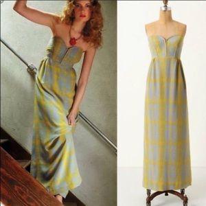 Anthropologie Maple Gray & Yellow Silk Maxi Dress